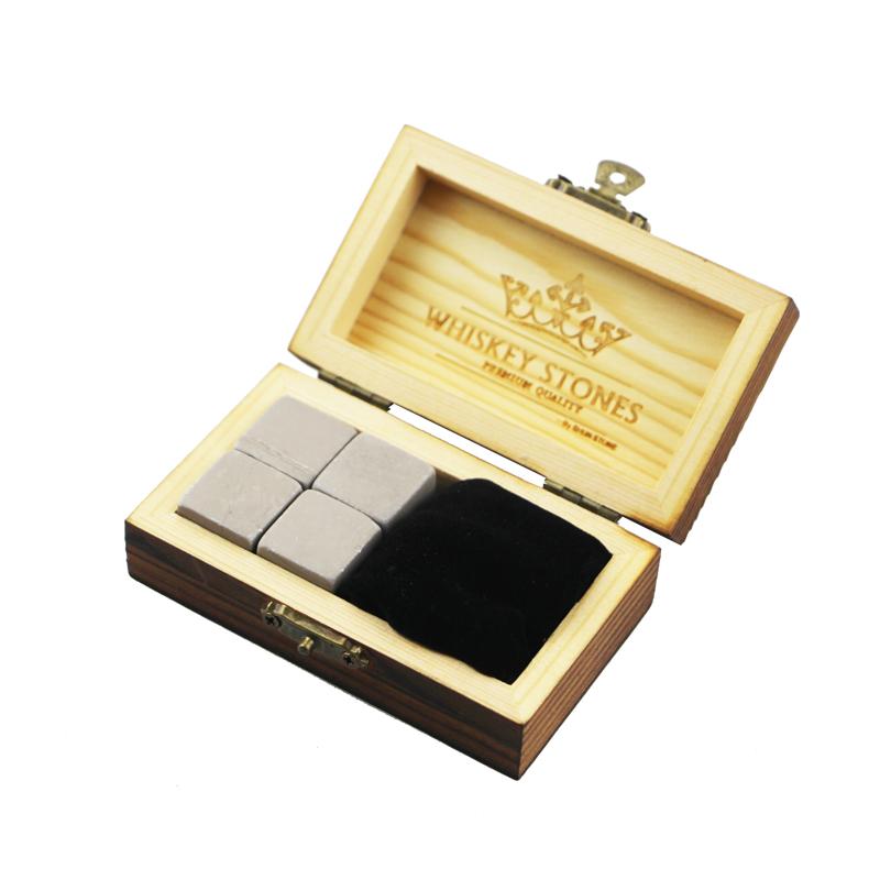 2017 Latest DesignStone Pot - Hot Wholesale 4 pcs of Grey Serpegiante whiskey Rock Stones Cube Whisky Stones Hot Sale Whisky Stone Gift Set with Wooden Box  – Shunstone